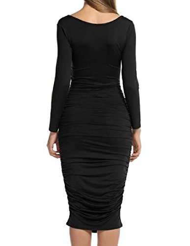 Gowns Midi Comfy Ruched Women Black Dress Sleeve Solid Long Colored Bodycon AxwnOqgSAH