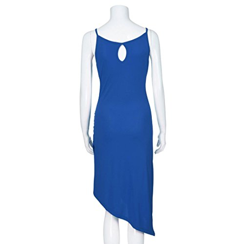 Chic Drap Cou Dress Dames Femme O Fathoit Femmes Holiday Ete Bleu Moulante Moulante Robe sans DContract Solid Plage Gaine Manches zBWZIq