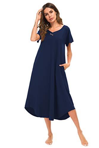 YOZLY Nightgowns Womens Maxi Loungewear Cotton V Neck Nightwear S-XXL (Navy Blue, XL)