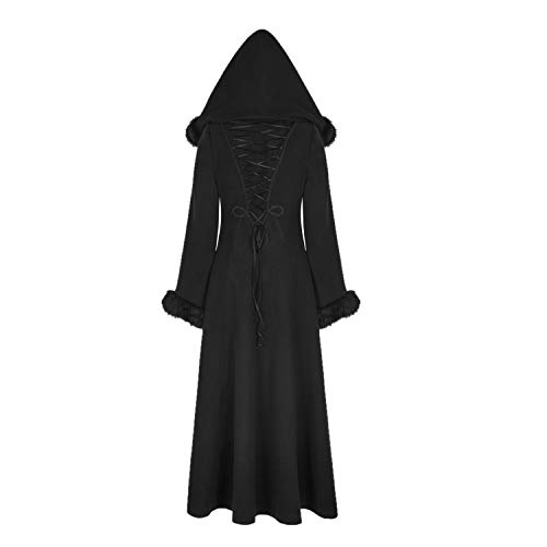 Punk Rave Black Gothic Faux Fur Winter Halloween Long Hooded Coat for Women (XS)