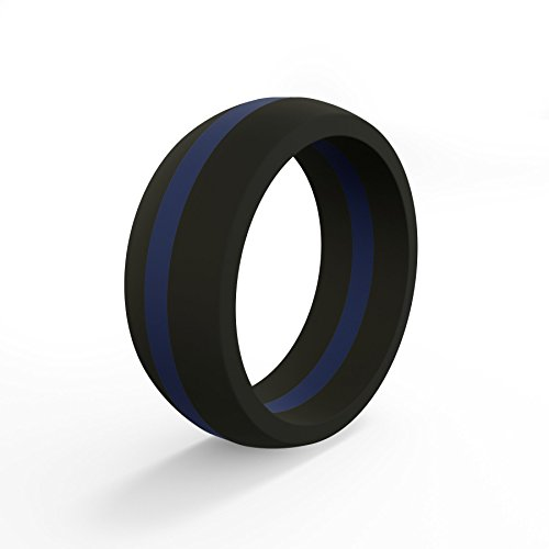 QALO Mens and Womens Functional Silicone Rings with Ring Storage Pouch, First Responder Red Line and Blue Line