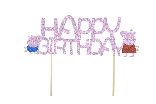 KAPOKKU Peppa Pig Family Glitter Cake Toppers Party Decorative for Kids Birthday Party Baby Shower (peppa pig Cake Topper) from KAPOKKU