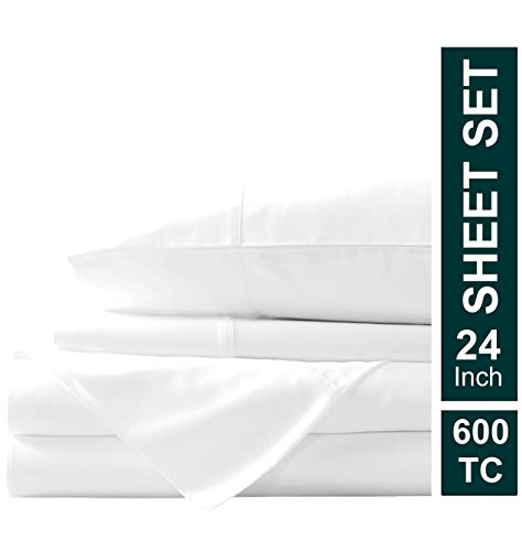 Meraki Linen Presents 4 PC Sheet Set 100% Egyptian Cotton 600 TC Premium Sheet Set, Luxurious Feel Italian Finish Fade-Resistant Comfort Sheet Set Comes with 24
