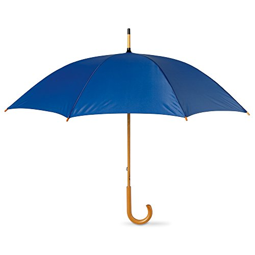 eBuyGB Classic Umbrella with Wooden Handle - Manual Opening Wedding Gentlemans Brolly (Royal Blue) ()