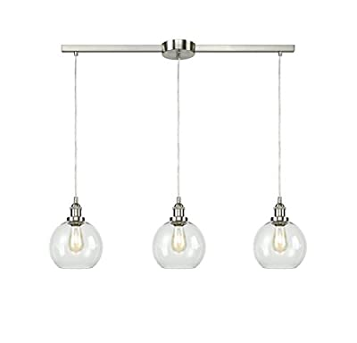 EUL Industrial Vintage Kitchen Island Lighting Clear Glass Globe Pendant