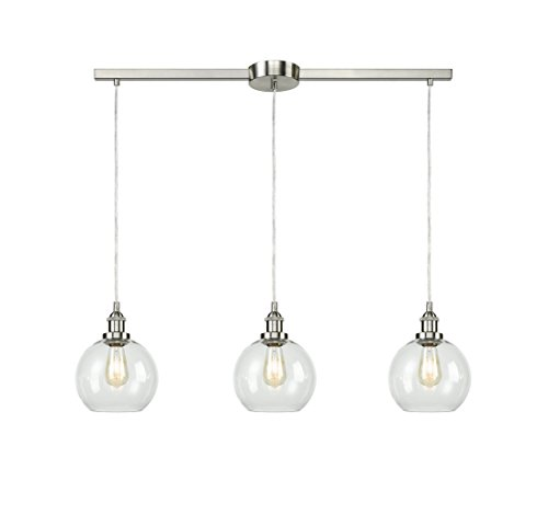 EUL Industrial Vintage Kitchen Island Lighting Clear Glass Globe Pendant Brushed Nickel -3 Lights