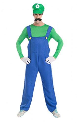 Cosplay Costume Mario & Luigi Halloween Plumbers Top Suspenders Cap Sets (M, Green)