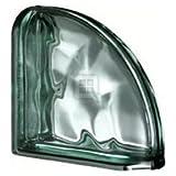 Quality Glass Block 7.5 x 7.5 x 3 Pegasus Metalized Green Wave Double End Block Glass Block