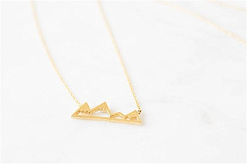 Greendou Fashion Jewelry Triangle Mountain Peak Pendant Travel Necklace for Women and Girls,18 with 2 Extend Gold