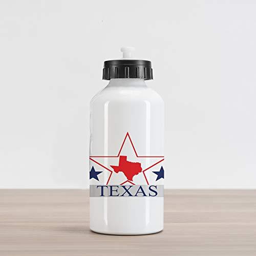 Ambesonne Texas Star Aluminum Water Bottle, San Antonio Dallas Houston Austin Map with Stars Pattern USA, Aluminum Insulated Spill-Proof Travel Sports Water Bottle, Navy Blue Vermilion Pale Grey (Patio Houston Restaurants Outdoor)
