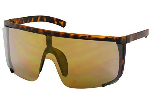 Elite Unisex Oversized Super Shield Mirrored Lens Sunglasses Retro Flat Top Matte Black Frame ()