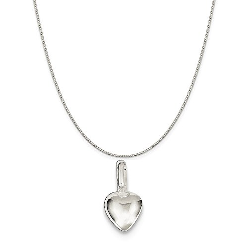 Mireval Sterling Silver Puffed Heart Charm on a Sterling Silver Box Chain Necklace, (Sterling Silver Puffed Box)