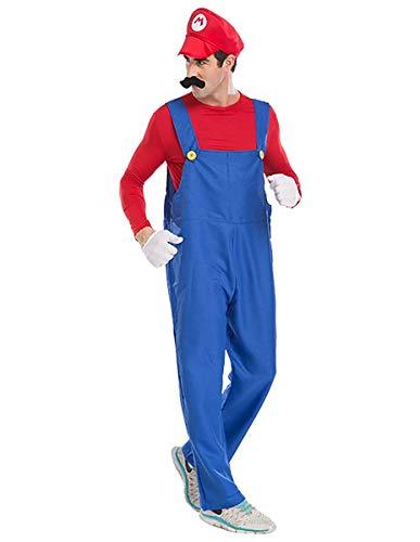 Yersery Unisex Super Mario Costume Adult Christmas Elf Halloween Cosplay Outfits