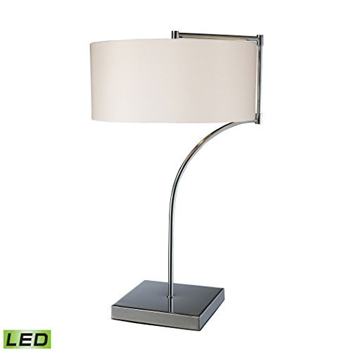 Manhattan Collection Lancaster LED Table Lamp In Chrome With Milano Pure White Shade
