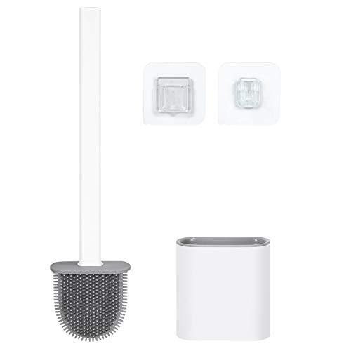 WERFORU Toilettenbürste Weiß, WC Bürste und Halter, Keine Tote Ecke Klobürste, Upgrade-Design, Toilettenreinigungsbürste mit abnehmbare Sockel, Kann gestellt oder aufgehängt Werden