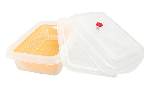 Japanese-made microwave cooking storage containers range DE vegetables shallow D-7 950ml Orange by Sanko plastic