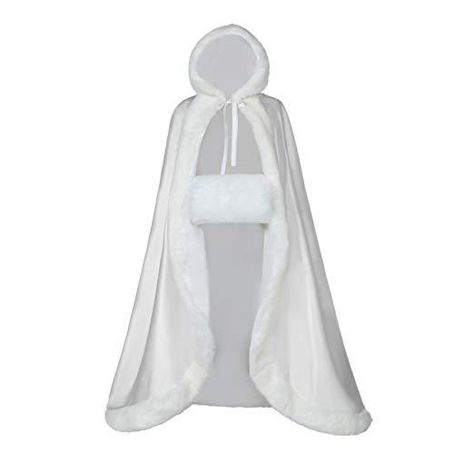 Full Length Wedding Cape Hooded Cloak for Women. Perfect for Winter, Bridal, Costume, Party, or Fashionable Fun. Reversible with Fur Trim, Hood & BONUS Hand Muff, White 50