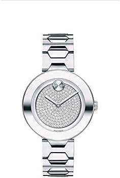 Movado Bold Silver Glitz Dial Ladies Watch