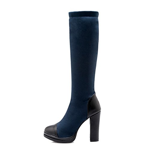 AmoonyFashion Womens Round Closed Toe High-Heels Soft Material High-Top Assorted Color Boots Blue OF1k7mUwa