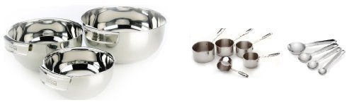 All Clad 3 Piece Mixing Bowl Set w/ 5 Piece Stainless Steel Measuring Cup and Measuring Spoons