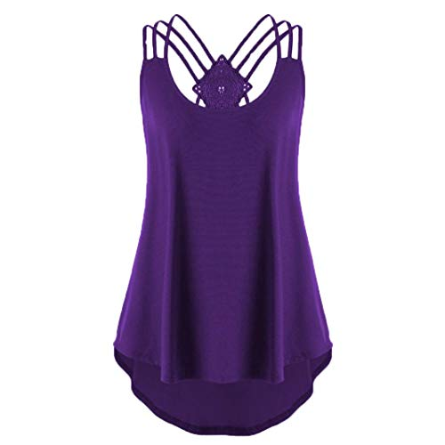 XOWRTE Short Sleeve T Shirt Women Blouse Bandages Sleeveless Vest High Low Tank Notes Strappy Top -