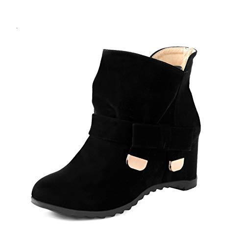 Rotonda Alti Cunei Black Caviglia Donna Stivaletti Punta Ragazze Caldi Per Alla Con Cotone Da In Lfeu Invernali FaYtwqOq