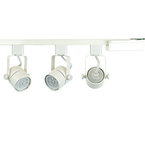 Direct-Lighting Brand H System 3-Lights GU10 7.5W LED (500 lumens Each) Track Lighting Kit White 3000K Warm White Bulbs Included HT-50154L-330K (White) (4' White Track)