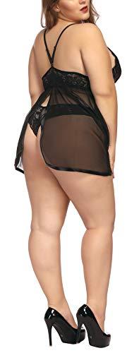 88dcfc089 TGD Lingerie Plus Size Babydoll Set for Women V Neck Lace Chemise (Black
