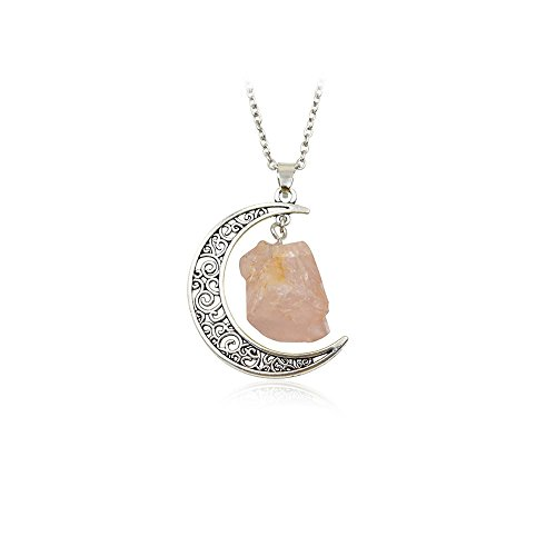 WLLAY Vintage Hollow Galaxy Crescent Moon Crystal Stone Pendant Necklace for Men Women (Pink) ()