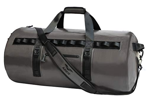 Motorcycle Duffle Bags - MIER Waterproof Dry Duffel Bag Airtight TPU Dry Bag for Motorcycle, Kayaking, Rafting, Skiing, Travel, Hiking, Camping, 90L, Dark Grey