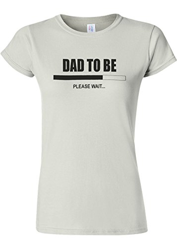 肌寒い洪水店員Dad To Be Please Wait Novelty White Women T Shirt Top-XXL