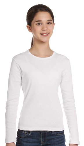 1x1 Baby Rib Long-Sleeve Crew Neck T-Shirt - WHITE - L (1x1 Rib Crew Tee)