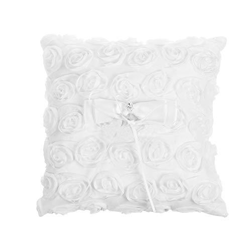 Floral Pillow Ring - Kloud City Floral Rose Wedding Ring Cushion Pillow 5.5x5.5 Inches Satin Ribbon Bowknot Bridal Ring Bearer Holder