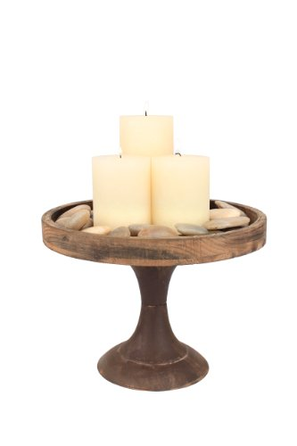 (Stonebriar Rustic Worn Natural Wood and Metal Pedestal Tray, Decorative Pillar Candle Holder, For Centerpieces, Mantel Decoration, or Any Table Top, Large)