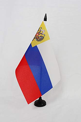 Russian Table Decorations (AZ FLAG Russian Empire 1914-1917 Table Flag 5'' x 8'' - Russia Empire Desk Flag 21 x 14 cm - Black Plastic Stick and)
