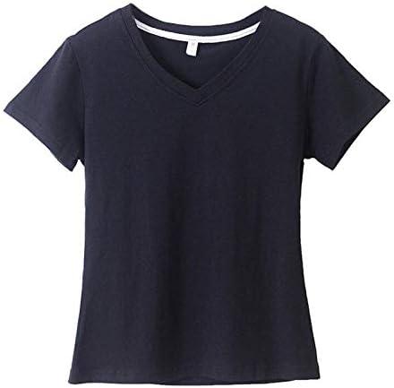 HKSADX Blanco Negro Algodón Camiseta Básica Mujer Liso Simple Cuello En V Sólido Camiseta para Mujer de Manga Corta Tops Femeninos: Amazon.es: Deportes y aire libre