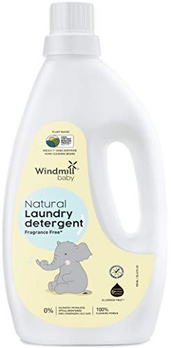 Windmill baby Natural Plant Based Laundry Detergent, USDA Certified, Allergen Free, Gentle with Bio-Enzymes, Fragrance Free – 900ml