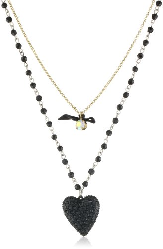 "Betsey Johnson ""Essentials"" 2 Row Heart Pendant Necklace"