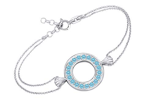 AFFY Round Shape Simulated Blue Topaz Circle Frame Link Chain Bracelets in 14k White Gold Over Sterling Silver 7.5