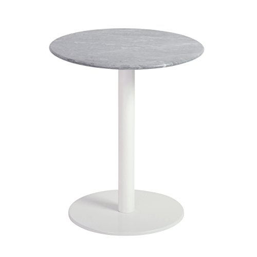 Euro Style 80964WHT Tammy Occasional Table, White Marble/Brushed Stainless Steel