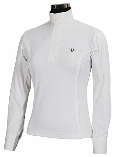 TuffRider Women's Kirby Kwik Dry Long Sleeve Show Shirt, White/White, 1X (Shirt Ladies Show)