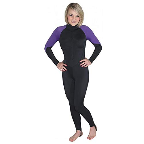 Storm Black/Purple Lycra Dive Skin for Scuba Diving, Snorkeling and Water Sports - X-Large