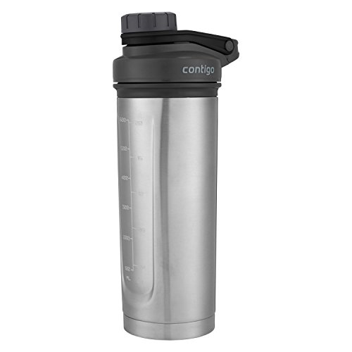 (Contigo Vacuum-Insulated Shake & Go Fit Stainless Steel Shaker Bottle, 24 oz, Grey/Black)