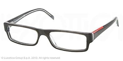 47079379c6b Amazon.com  Prada Sport PS01AV Eyeglasses-ZXX 1O1 Black Transparent  Gray-53mm  Clothing