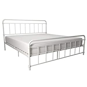 DHP Winston Metal Bed Frame, Multifunctional Piece with Adjustable Heights for Under Bed Storage, White – King
