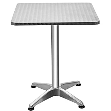 Giantex 23.5 Bistro Bar Table Aluminum Tabletop Indoor-Outdoor Bistro Pub W X-Style Base for Pub Table Cafe Table Office Table Conference Table, Silver Square