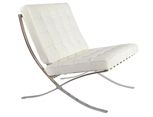 HomeCraft Barcelona Style Modern Pavilion Chair Couch Sofa Leather with Stainless Steel Frame in White