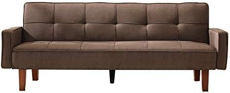 Recaceik Modern Futon Sofa, Living Room Couch,Linen Upholstered, Fabric, Eucalyptus Frame Brown