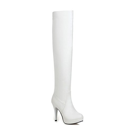 A&N Girls Stiletto Pull-On Wheeled Heel Shoes White Imitated Leather Boots - 4.5 B(M) US (Stretcher Wheeled)