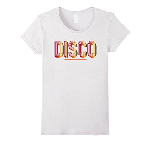 1970s Fashion Disco (Womens Disco 1970s Style Tshirt Vintage Retro Neon Light Funky Tee Small)